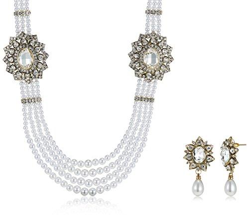 Ava Traditional Multi-strand Pearl Jewellery Set For Women (White) (S-GA-280)