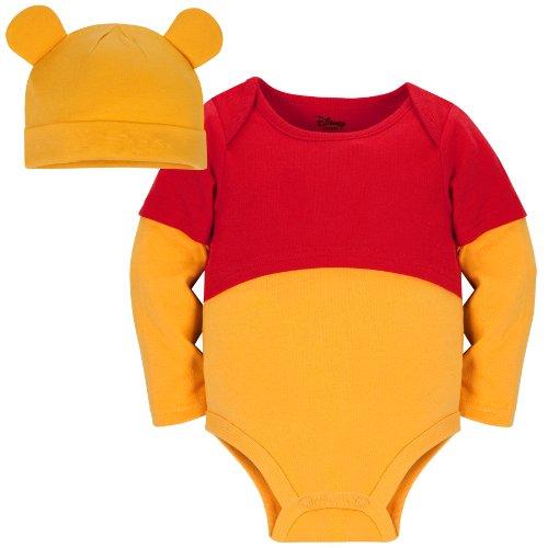 Disney Store Winnie the Pooh Costume Onesie Bodysuit with Matching Hat 100% Organic Cotton)