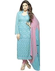 Whatshop New Designer Sky Blue & Pink Shiffon Dress Material