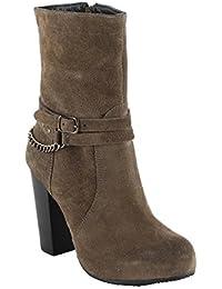 Salt N Pepper Rebacca Camelot 100% Genuine Suede Leather Women Heel Boots