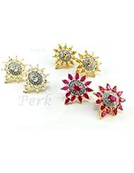 Perk Art Jewels Silver Gold Metal Beads Stone Bracelet For Women - B01JPEN8N2