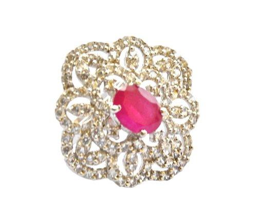 Orne Jewels Ruby Diamond Cocktail Ring For Women - B00IO9E4LA