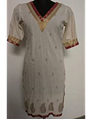 Geroo Cotton White Kurta With Golden Khari Work And Brocade - B01588GVOC