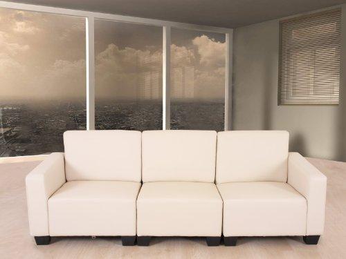 Modular 3-Sitzer Sofa Couch Lyon, Kunstleder ~ creme