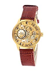 GT Gala Time Skeleton Mechanical Hand Winding Brown Leather Strap Gold Case Wrist Watch For Men GT-MECH-002