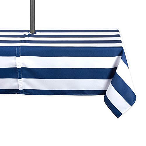 DII Blue Cabana Stripe Outdoor Tablecloth With Zipper 60x120