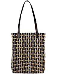 Snoogg Zig Zag Blocks Womens Digitally Printed Utility Tote Bag Handbag Made Of Poly Canvas With Leather Handle