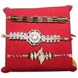 Handicrunch Rakhi Set Of 3 Designer Bracelet Rakhi Set With Haldiram Rasgulla