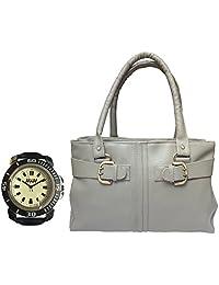 Arc HnH Women HandBag + Watch Combo - Buckle Grey Handbag + Sporty Black Watch