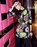 Flower Printing Button Stand Collar Long Sleeve Chiffon Women Blouse