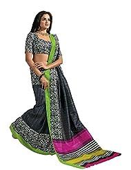 De Marca Black Raw Silk Designer A2409 Saree
