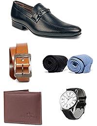 Bacca Bucci Men Combo Pack Of 5 : Formal Shoes,Wallet, Belt,Watch,Socks