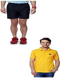 Abloom Men's Shorts & T-shirt Combo ( Black Blue & Yellow )