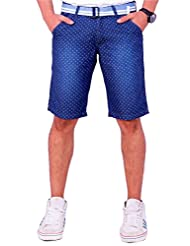 Origin Smart DBlue Casual Fixwaist Patterened Cotton Cotton Capris With Belt For Men | OR6237DBLU