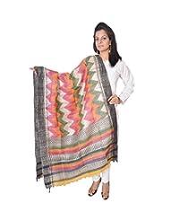 InBlue Fashions Multi Colour Hand Block Printed Cotton Silk Dupatta