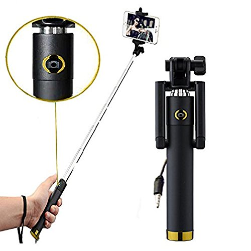 BriteNOVA ® Selfie Stick with Wire/Aux Cable (No Bluetooth or Battery) for taking Photos & Videos on all Mobile Phones, Original Premium & Best Quality, Light Weight, Best Price Gift, Long Length Exte