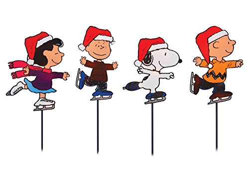 Set of 4 Pre-Lit Snoopy and Peanuts Ice Skating Christmas ...
