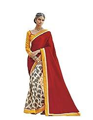 Status Red & Off White Color Printed Saree On Bhagalpuri Silk Fabric.