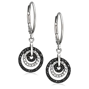 Sterling Silver ½ Carat Black and White Diamonds Circle Drop Earrings