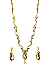 LA TRENDZ Delicate Pearl Gold Plated Necklace Set For Women
