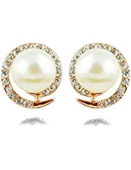 Silver Shoppee Circle Of Hopes 18K Yellow Gold Plated Cubic Zirconia And Pearl Studded Alloy Earrings