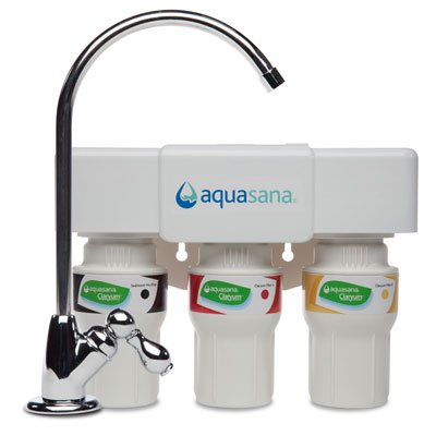 Aquasana AQ-5300.56 3-Stage Under Counter Water Filter System with Chrome Faucet