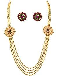 JFL - Traditional Glittering One Gram Gold Plated Bead Designer Long Necklace Set For Women.