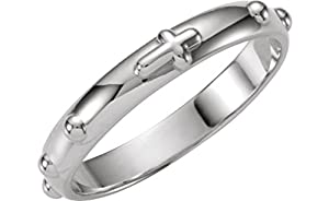 4mm Platinum Rosary Ring, Size 9