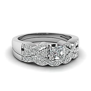 Fascinating Diamonds Interlocked Design Bridal Rings Pave Set 1 Ct Princess Cut:Very Good Diamond 14K GIA