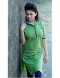 Whynot Indian Ethnic Pure Cotton Designer Plain Kurti Casual Wear Kurta - B01FPI9Q4M