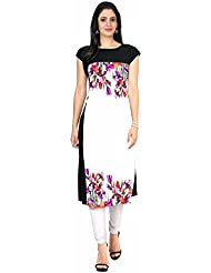 Queen Creation Women's Crepe White Colour Printed Kurti(White Colour) - B01LH7EX2U