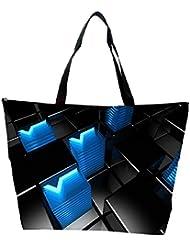 Snoogg Abstract Blue V Design Designer Waterproof Bag Made Of High Strength Nylon
