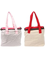 VS Exporrts Cotton 6 Liters Multi-Color Lunch Bag (Combo Of 2) - B01HZ1RER8