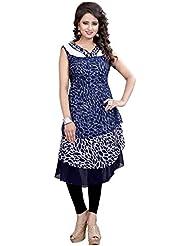 Lakshminarayan Creatin's Womens Printed Georgette Navy Blue Kurti Without Leggings