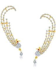 Zeneme American Diamond Peacock Design Gold-plated Ear Cuff Earring For Women / Girls