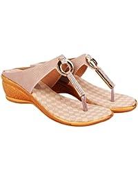 Footshez Women's Off-white Wedge Heel Slippers