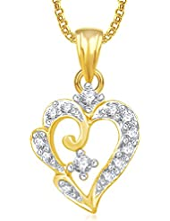 Meenaz Heart Pendants For Women Girls With Chain Gold Plated In American Diamond PS439