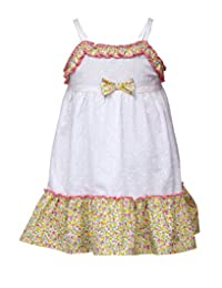 Budding Bees Infant Girls White & Pink Floral A-Line Dress