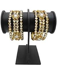Beautiful Kundan Gold Plated Bangles Set By My Design (size-2.8)