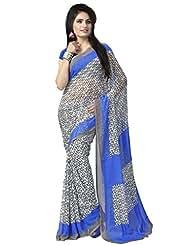 Vaamsi Chiffon Printed Saree(Rolex3077_Blue_6.3 M Length)