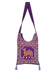 Rajrang Indian Designs Cotton Embroidered Camel Purple Sling Bag