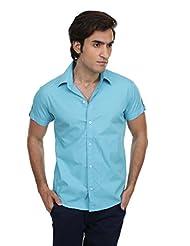 Skatti Pure Cotton Sky Blue Solid Shorts Sleeve Shirt