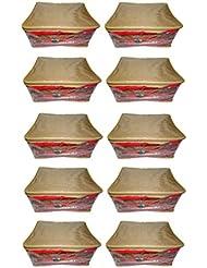 Atorakushon Pack Of 10 Pcs Multipurpose Net Transparent Golden Saree Cover Sari Cover Blouse Cover Salwar Cover...