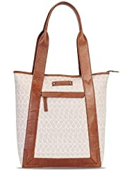 Bareskin Mauve Color Mosaic Print Canvas Tote Bag With Genuine Tan Color Leather Trimming For Women/branded Tote...