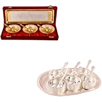 Silver & Gold Plated 3 Heavy Dil Bowl With Spoon And Tray And Silver Plated Premium 6 Bowl Set With Oval Tray