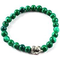Eshoppee Natural Stone Buddha Bracelet With Silver Buddha Bead For Men And Women - B01L6RV7EI