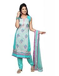 Teal Blue Chanderi Silk Straight Salwar Kameez For Ladies