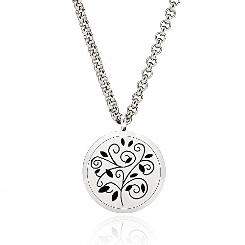 EVERLEAD Stainless Steel Round Essential Oils Diffuser Magnetic Locket / Carving Aromatherapy Necklace