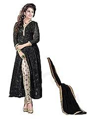 Clickedia Women's And Girls Beautiful Black Center Cut Churidaar Salwaar Suit With Embroidery Work On Churidaar...