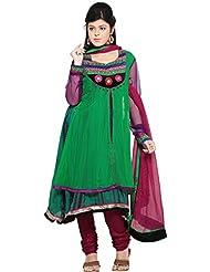 Utsav Fashion Women's Green Net And Faux Georgette Readymade Anarkali Churidar Kameez-Small
